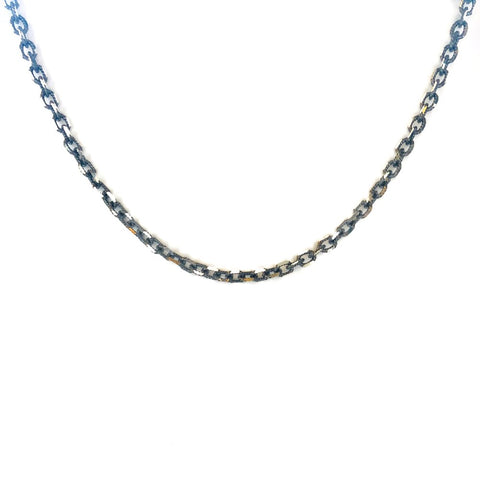 Oxidized Faceted Dog Chain Necklace