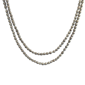 Silver Double Wrap African Trade Bead Necklace