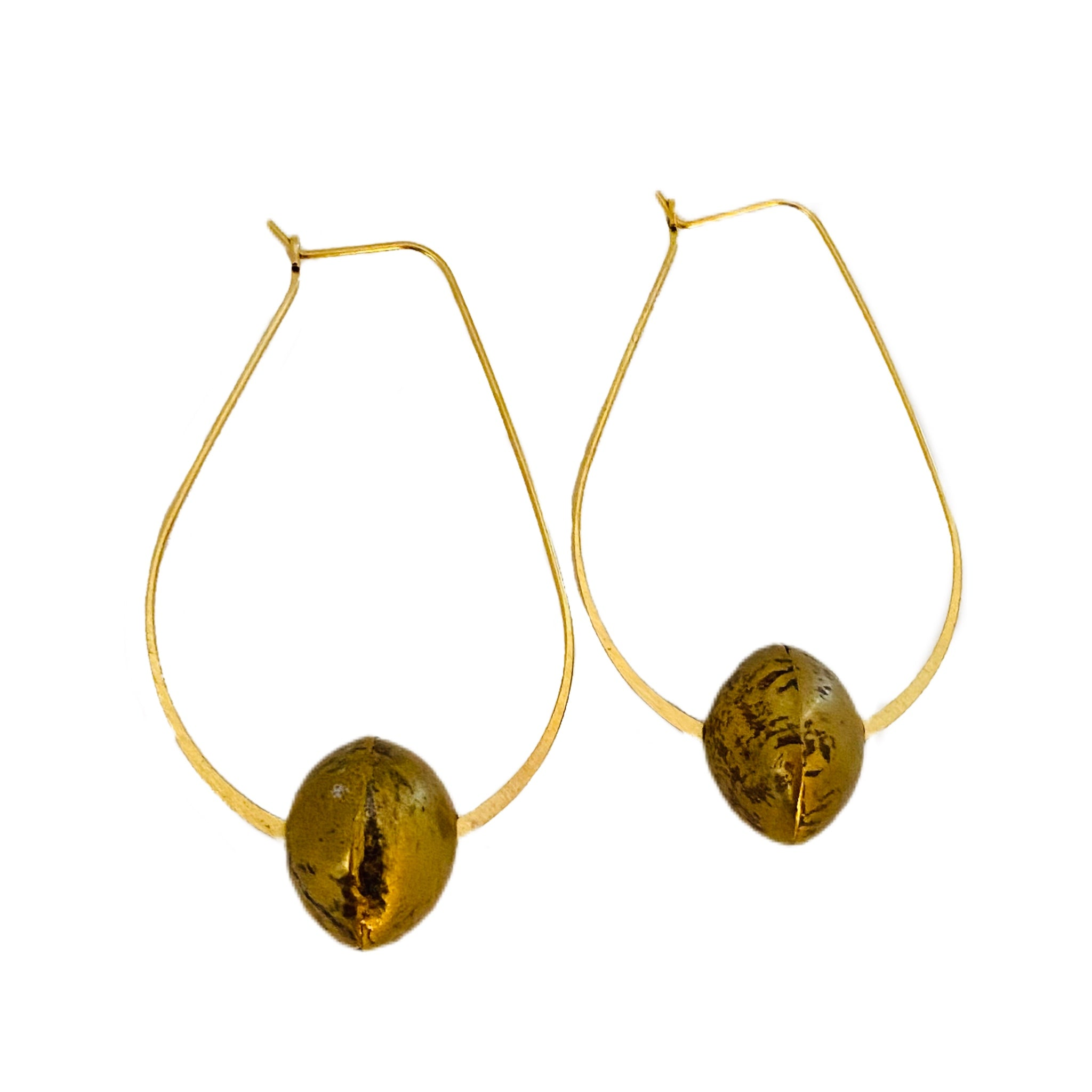 Gold Kidney // Bead Earring