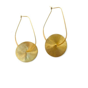 Large Flat Gold Kidney + Disc Earring