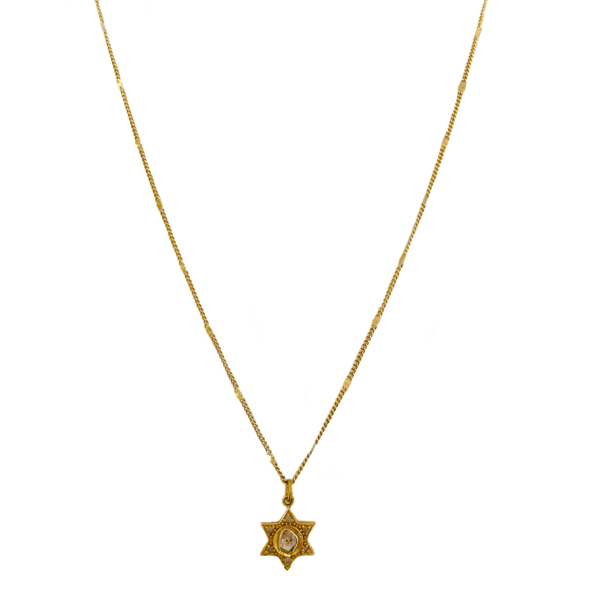 Gold Pave Diamond Sheriff Necklace