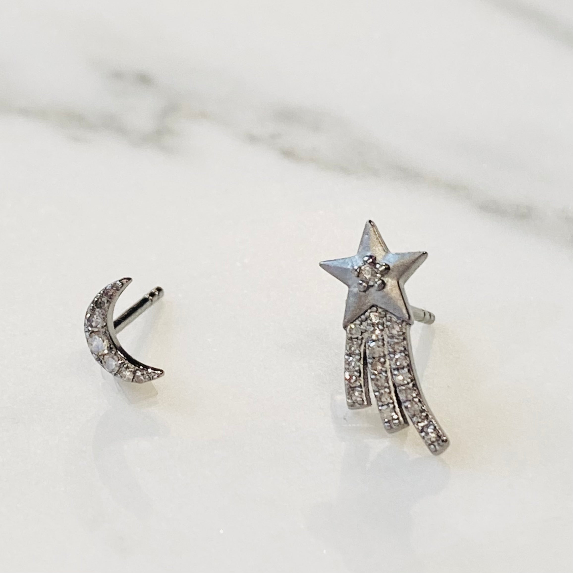 Pave Diamond Moon and Shooting Star Studs