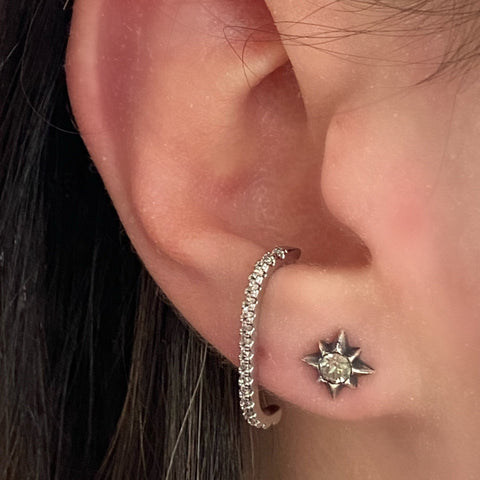 Tiny Silver Crystal Star Studs
