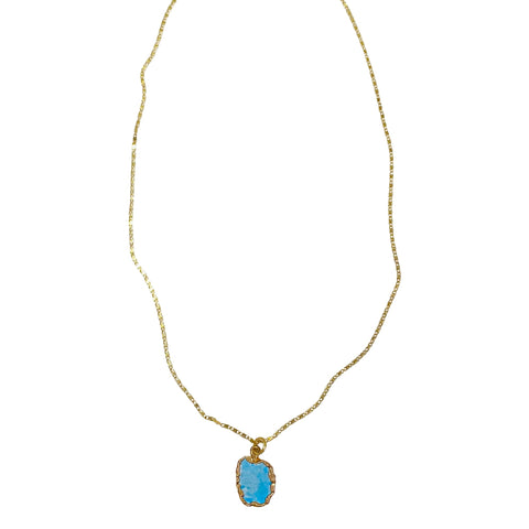 Gold-Wrapped Turquoise Necklace