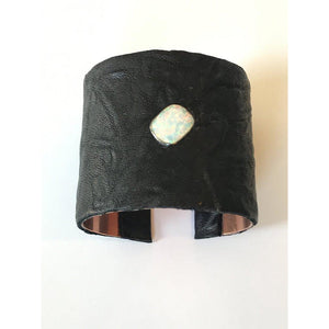 Opal// Black Leather Cuff