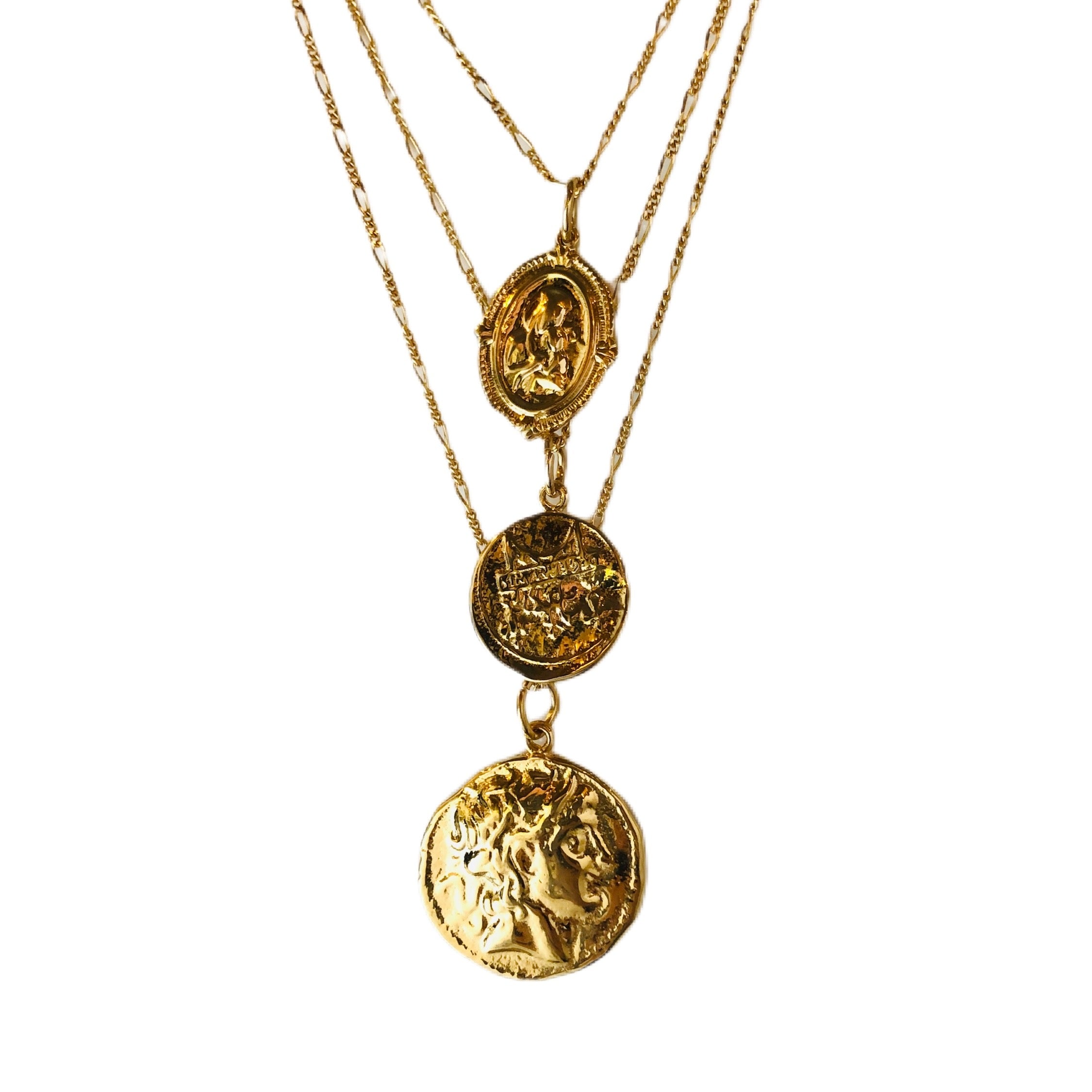 Triple Gold Coin Necklace