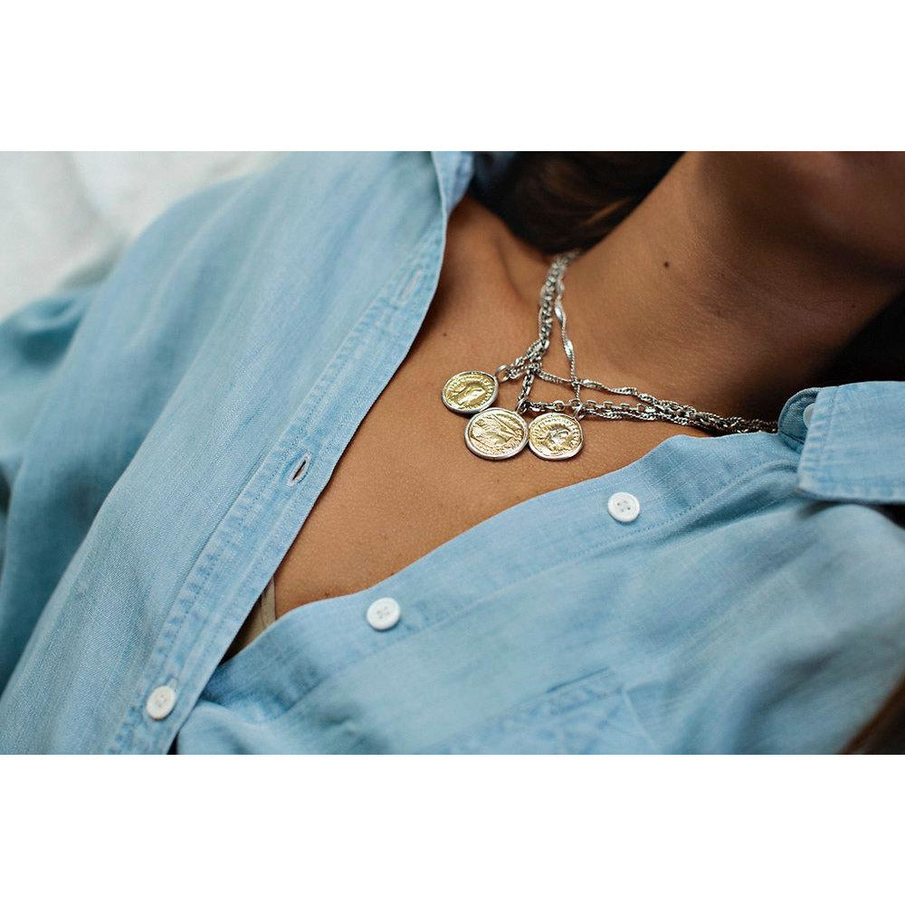 Silver Twisted Coin Necklace
