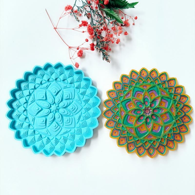Flower of life silicone coaster mold resin Flower Coaster mold silicone for resin geode coaster molds car coaster mold