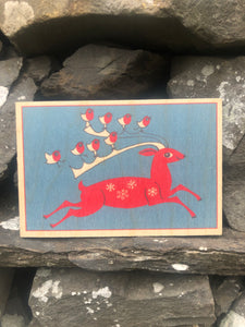 Wooden Christmas postcard