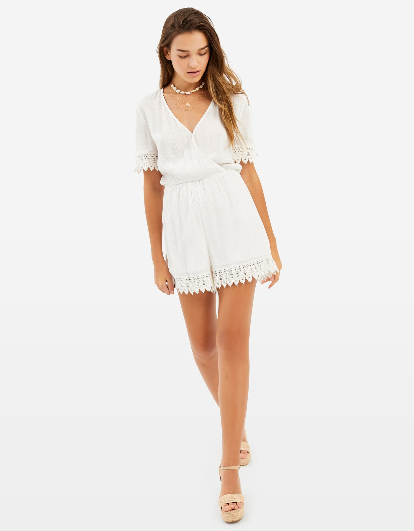 Playsuit with Lace | Off White
