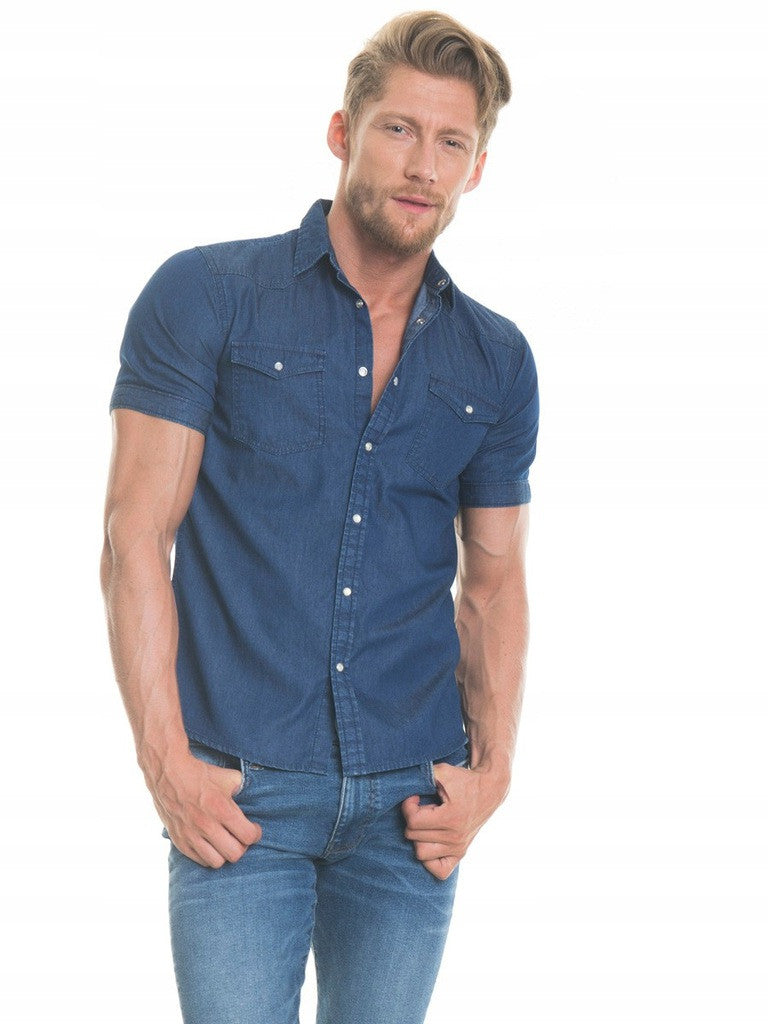Shirt Short Sleeve Denim | Navy Blue