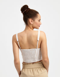 Crop Top | Indian Tan2-Off Whit