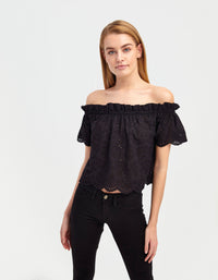 English Embroidery Top | Black