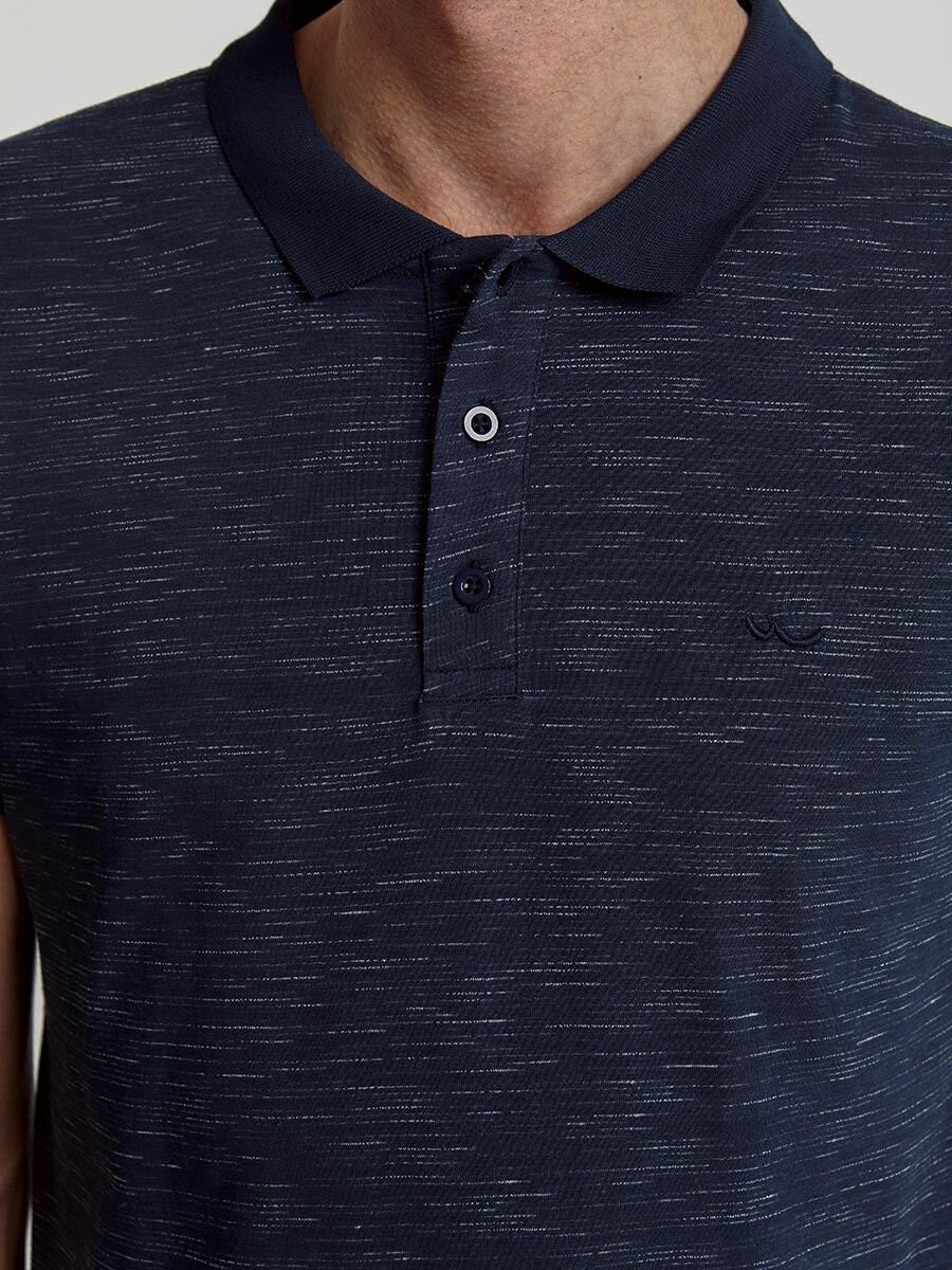 Polo with Stripes on Shoulder | Navy White Mix