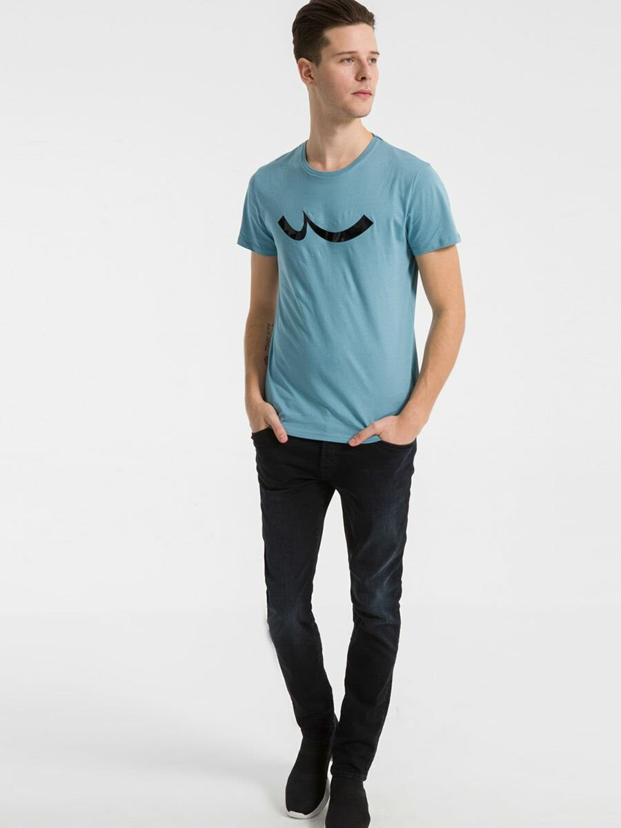 T.Shirt with Logo Print | Adriatic Blue