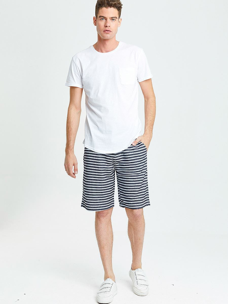 Short Jogging with Stripes | Navy White Stripes