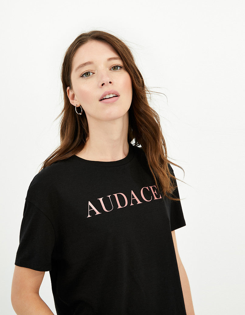 T-Shirt with Slogan | Black