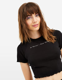 Slogan Crop Top | Black