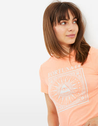 T-shirt with Astro Print | Pastel Orange