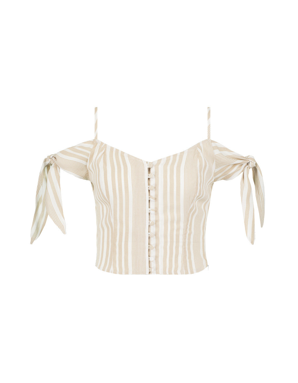 Button Front Crop Top | Indian Tan2-Off Whit