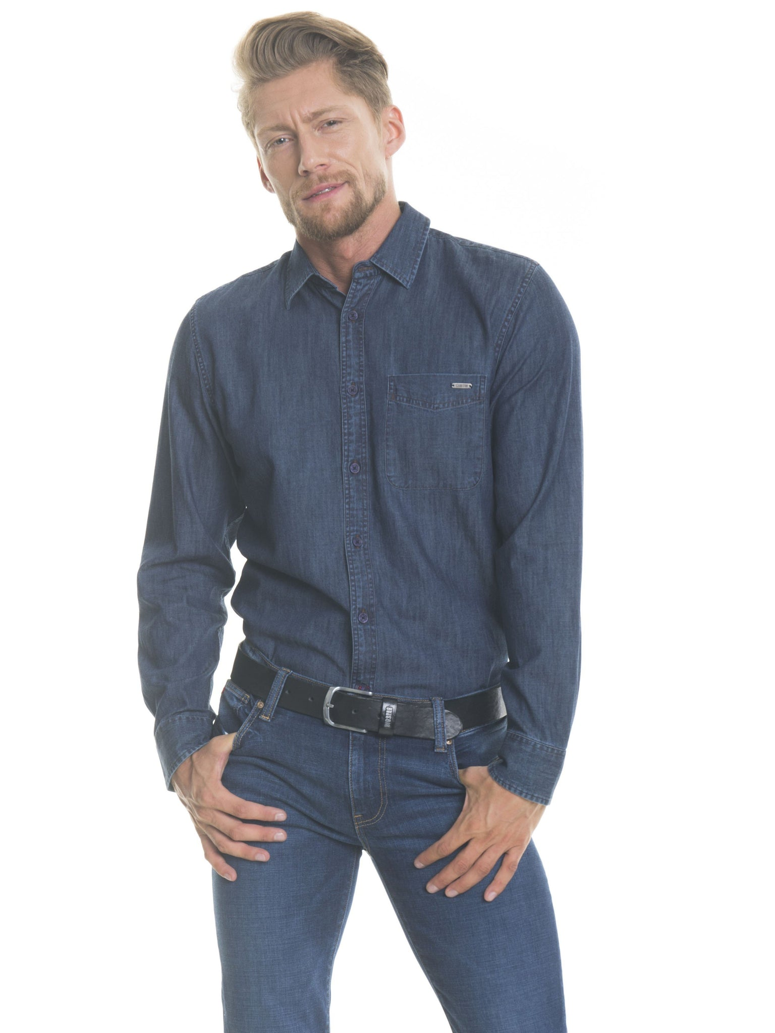 Shirt Long Sleeve Denim | Navy Blue
