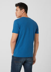 T.Shirt Basic with Label Print | Postcard Blue