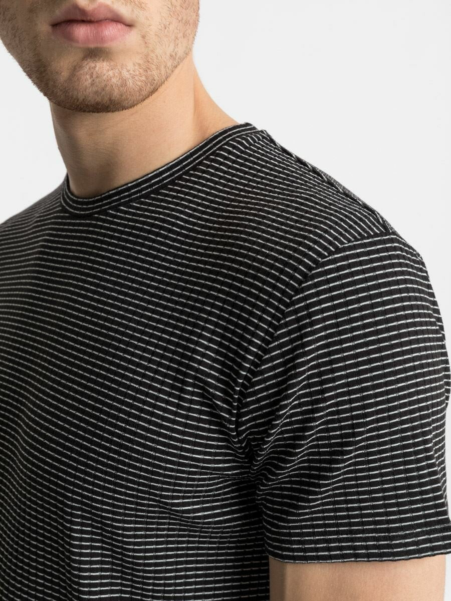 T.Shirt With Thin Stripes | Black White Stripes