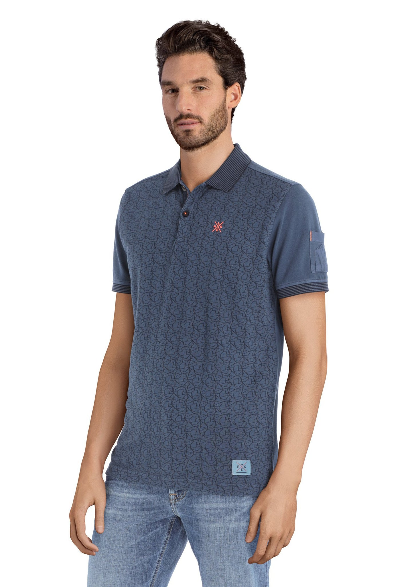 Polo with Pattern Print | Vintage Blue