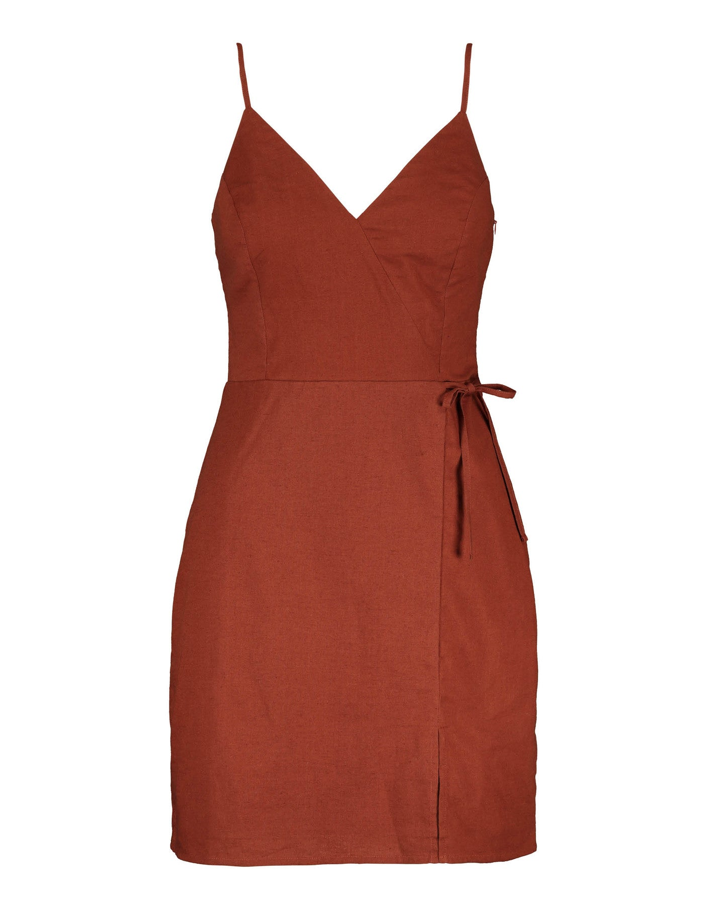 V Neck Strappy Dress | Copper Brown