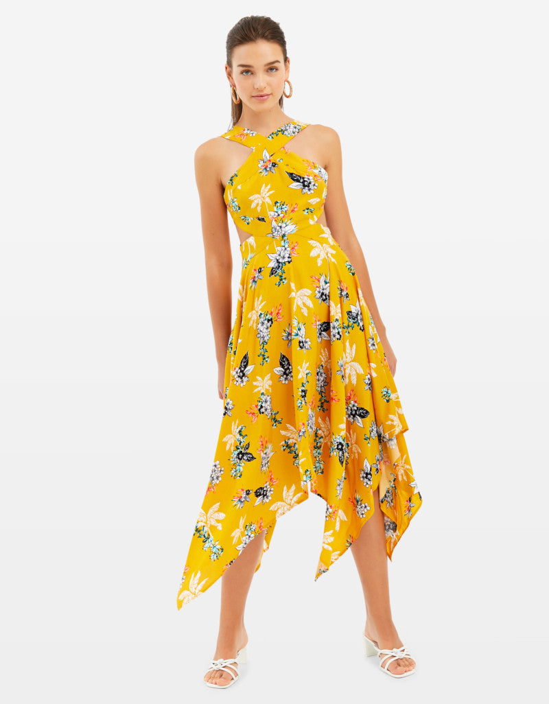 Long Assymetric Dress  | Floral Print