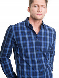 Shirt with Checks | Navy Blue