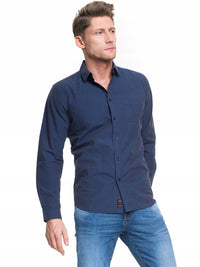 Men's fine checked Shirt | Navy Blue