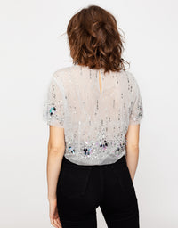 Sequins Mesh Top | Silver AC