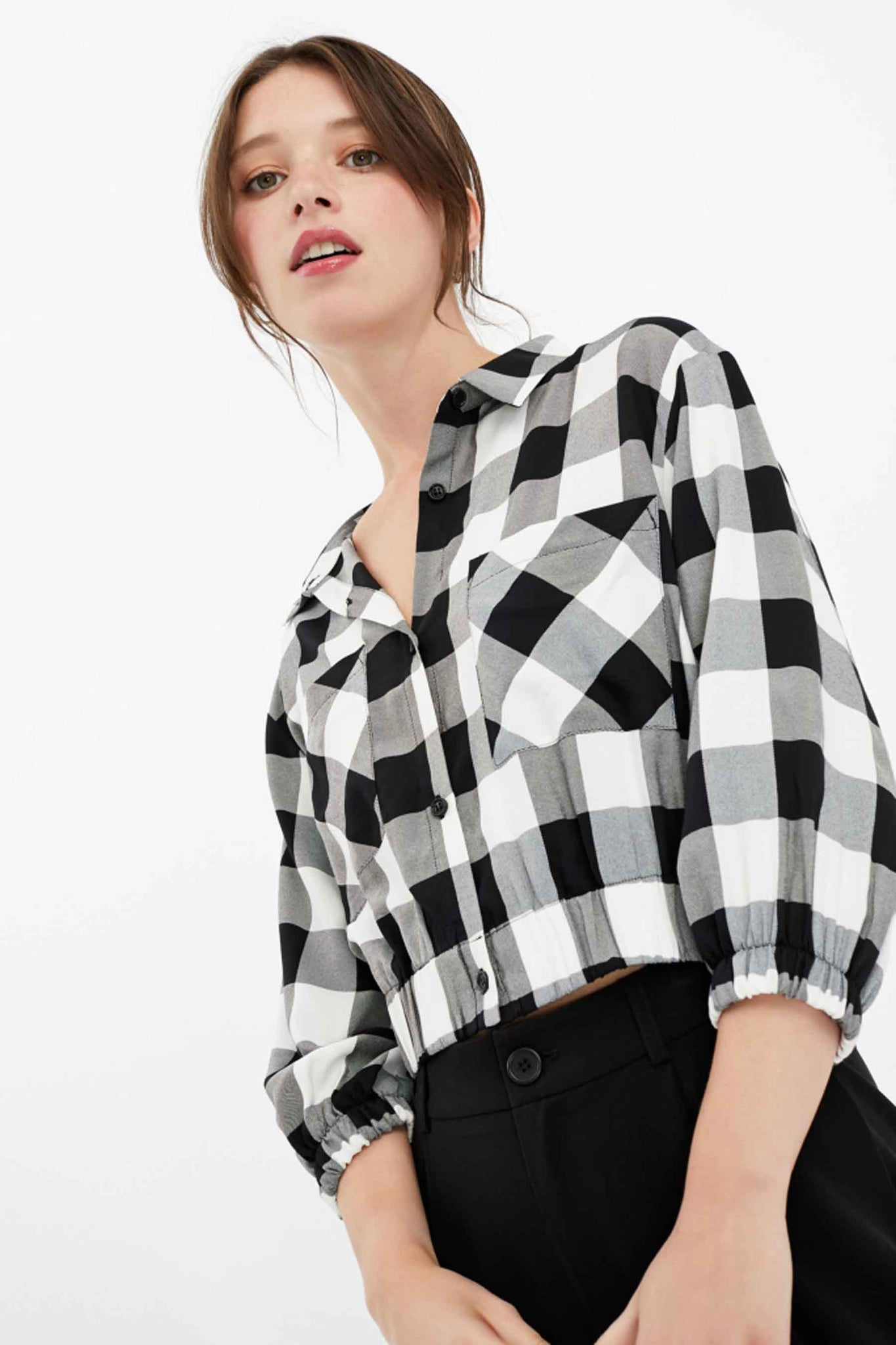 Gingham Cropped Shirt | White