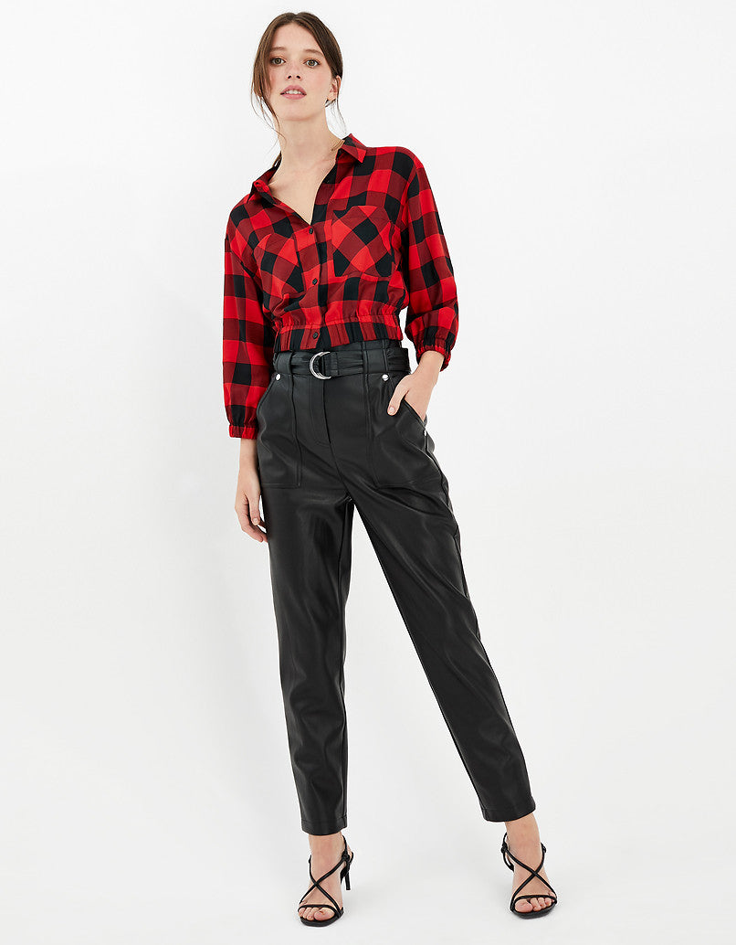 Gingham Cropped Shirt | Scooter-Black