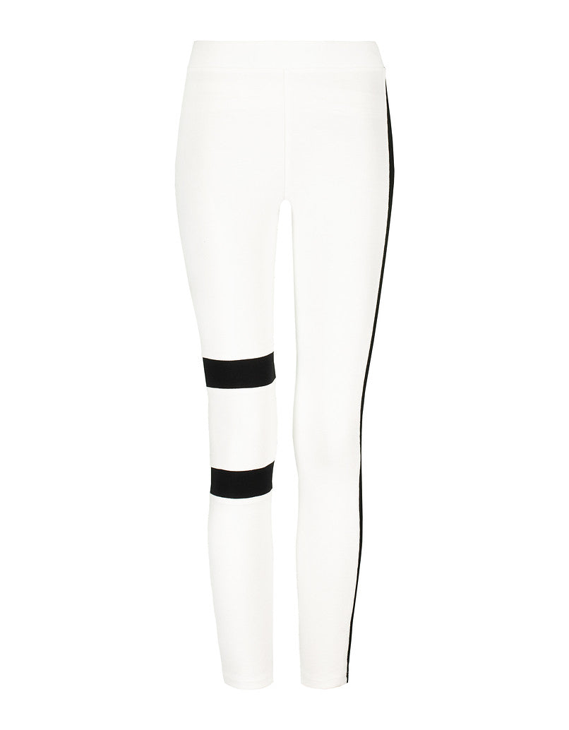 Side Stripe Leggings | White