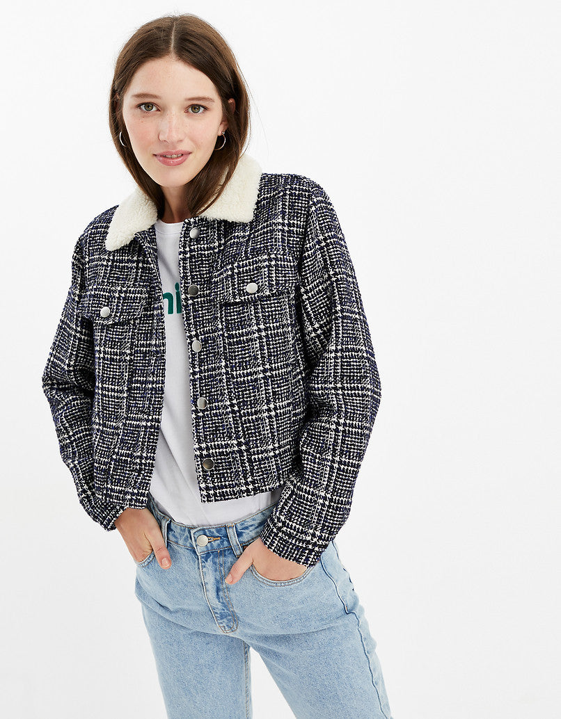 Straight Fit Faux Shearling Collar Jacket | Nebulas Blue