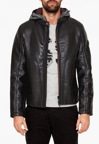 Slim Fit Faux Leather Jacket | Black