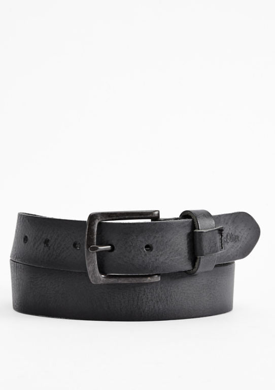 Vintage Leather Belt | Dark Grey