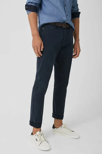 Chino Pants With Belt | Navy Blue