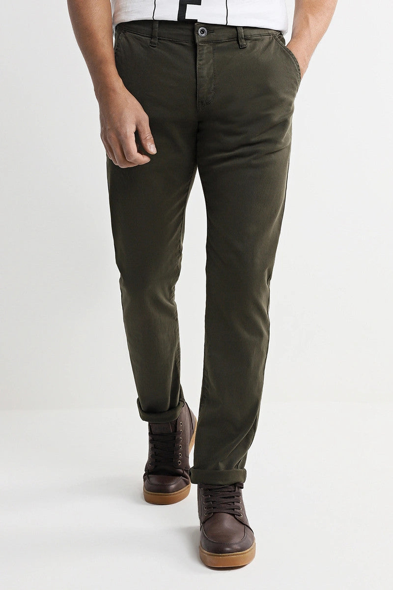 Slim Fit Cotton Pants | Military Green