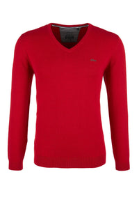 Basic V-Neck Sweater | Bright Red