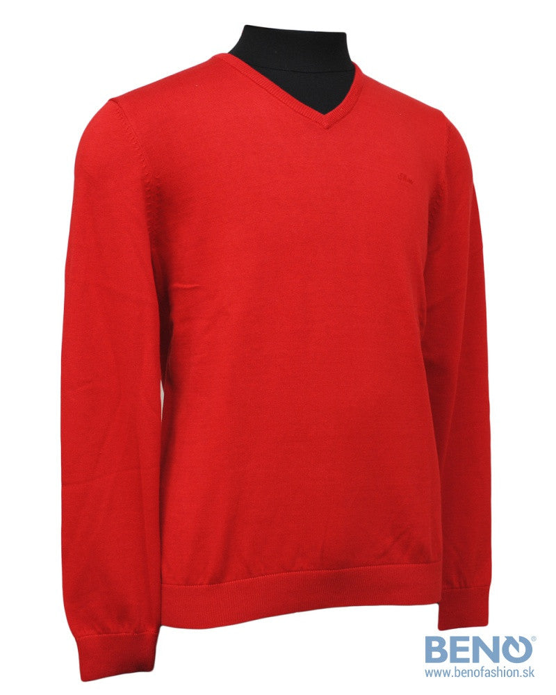 V-Neck Basic Sweater | Bright Red