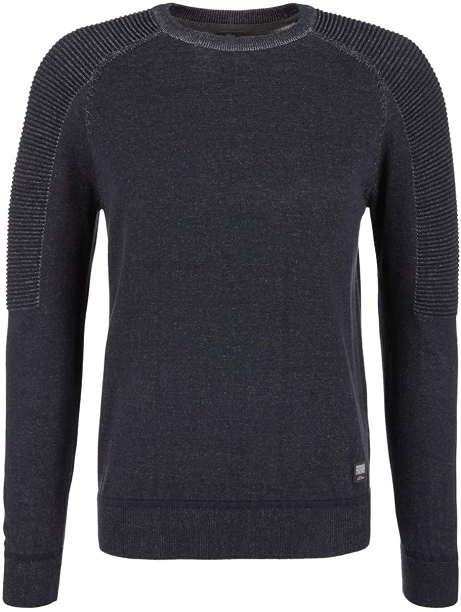 Round Neck Jumper With Details | Night Blue