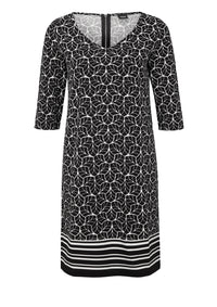 Double-face dress in a retro pattern | Grey/black Placed Print