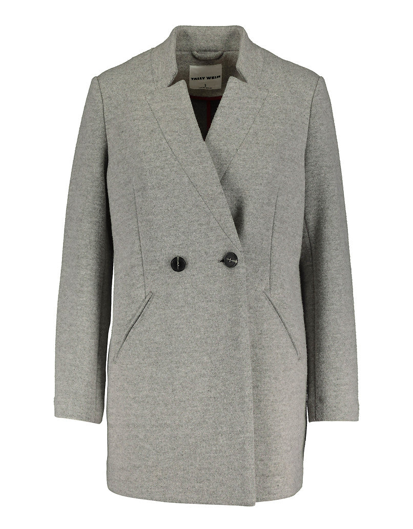 Straight Fit Double Breasted Coat | Gris Chine Light