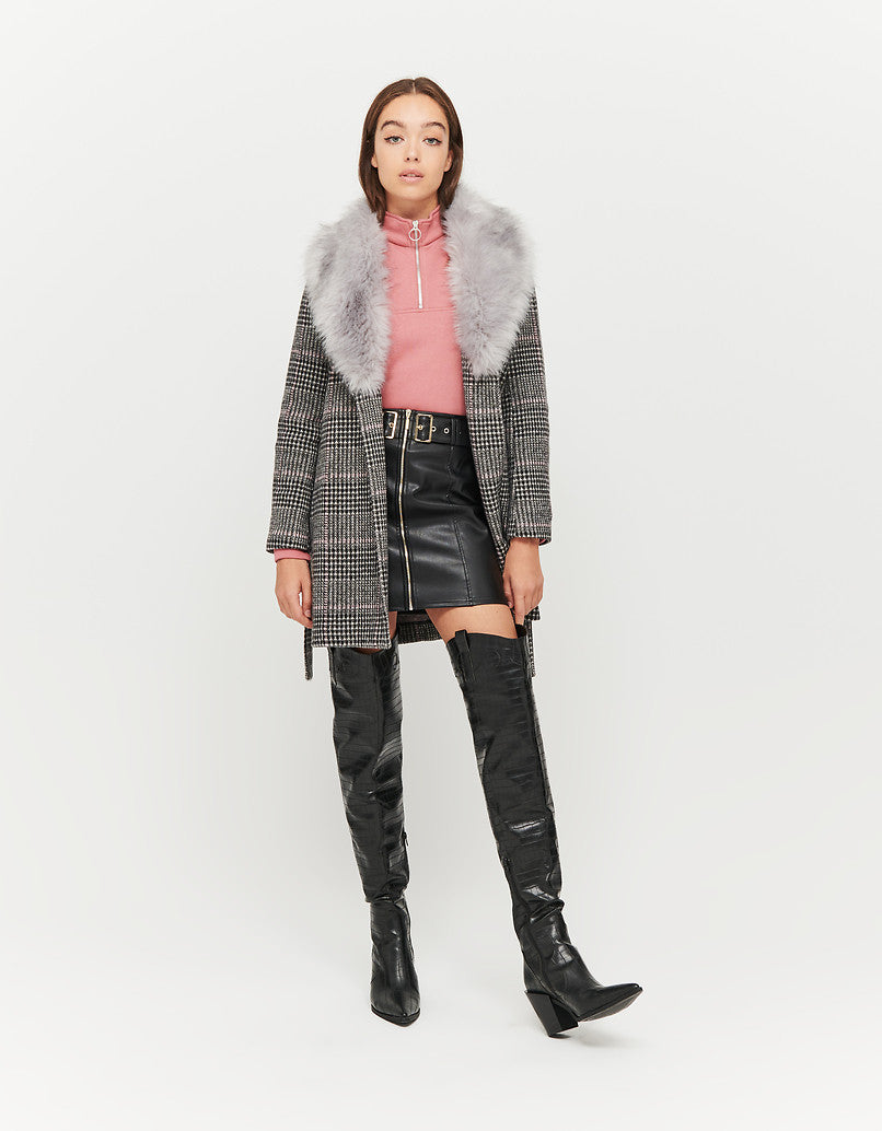 Coat with Removable Faux Fur | Black-White