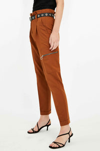 High Waist Tapered Trousers with Belt | Brown