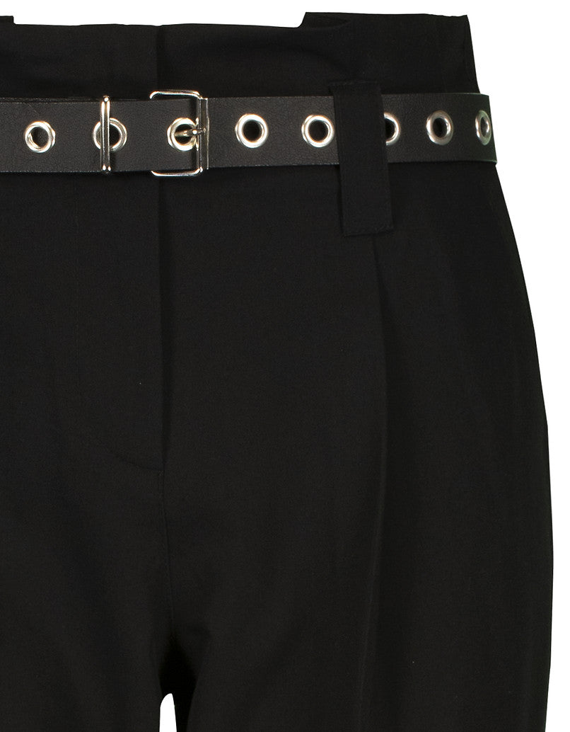 High Waist Tapered Trousers with Belt | Black
