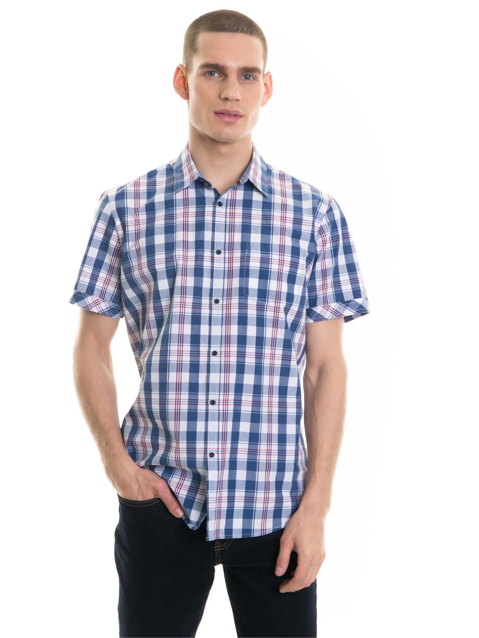 Shirt Short Sleeve with Checks | Blue